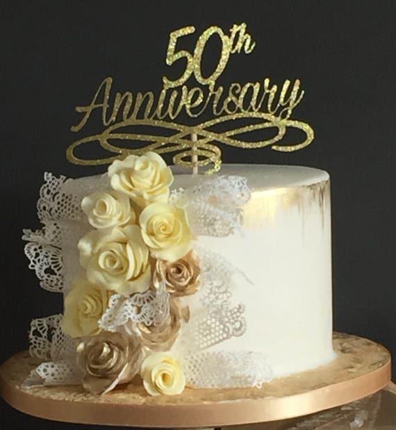 Jubiläum Kuchen Deckel Goldene Hochzeit Tisch Dekoration Gold Glitter Silber Glitter 50 Geburtstag 40 10 Silber