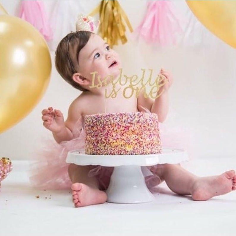 First Birthday Girl Personalised Cake Topper Is One Custom Etsy