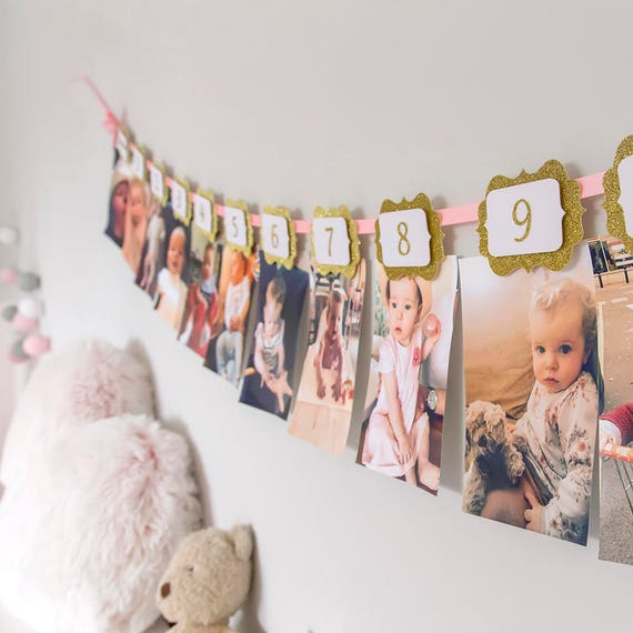 Custom Birthday Photo Wall Banner.First Birthday