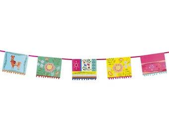 Llama Boho Garland // Floral Pom Pom Garland // Wall Banner // Fiesta Theme // Party Decorations // Stylish summer party // Banderillas