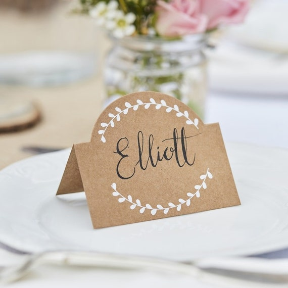 Wedding Table Name Place Cards // White Vine // Table