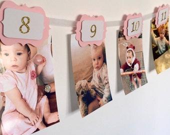 FIRST BIRTHDAY Girl Decorations. 12 Month Photo Wall Banner.1st  Birthday Girl. Monthly Photo Banner. Birthday Garland. Pink & Gold Glitter