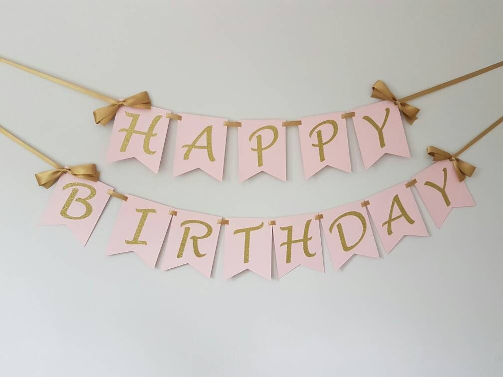 Happy Birthday Banner Wall Pink And Gold Smash Cake