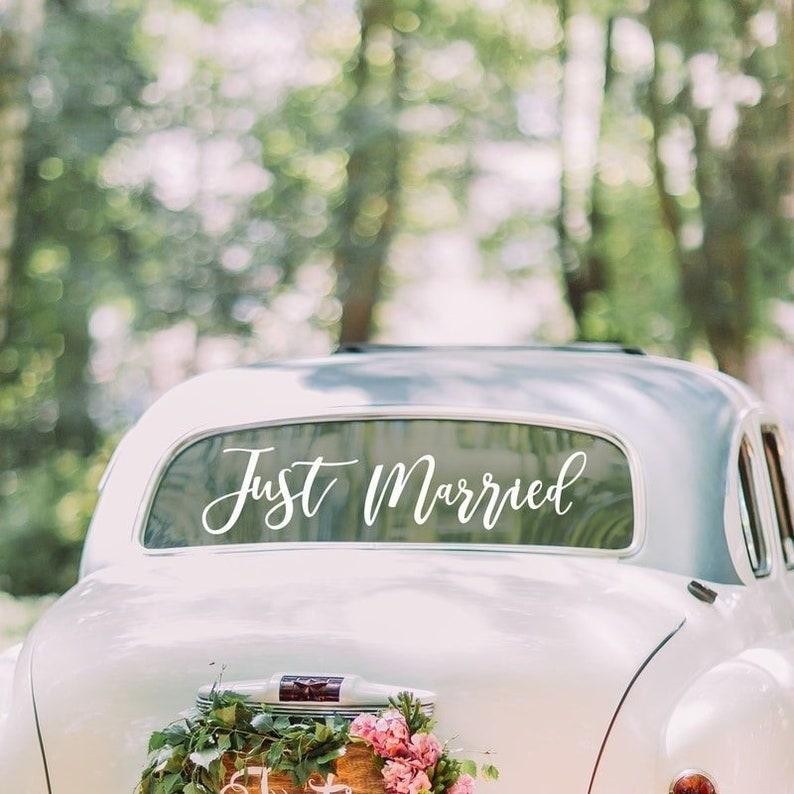 Just Married Wedding Car Sticker //White Wedding// Wedding Car image 0