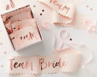 TEAM BRIDE Sashes Pink and Rose Gold. Hen do Party Sashes. Team Bride. Hen Party. Hen do Party. Wedding. Party decorations. Bride to be.