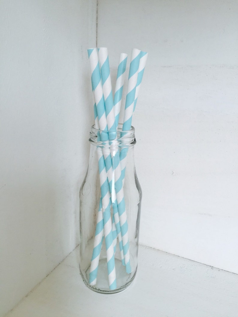 Baby boy Birthday Party Decorations.Baby shower Baby blue.Blue /& white Birthday Party Straws.Party tableware.Straws First birthday party