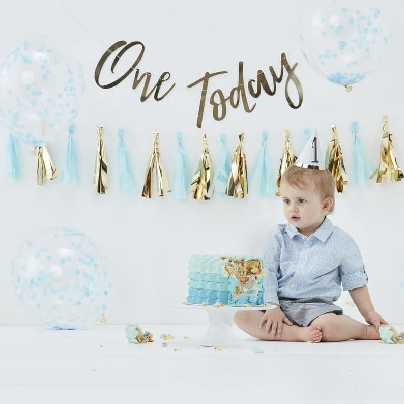 First Birthday Party Decorations Kit One Year Old Boy Cake Smash Tassel Garland Balloons Bunting And Hat