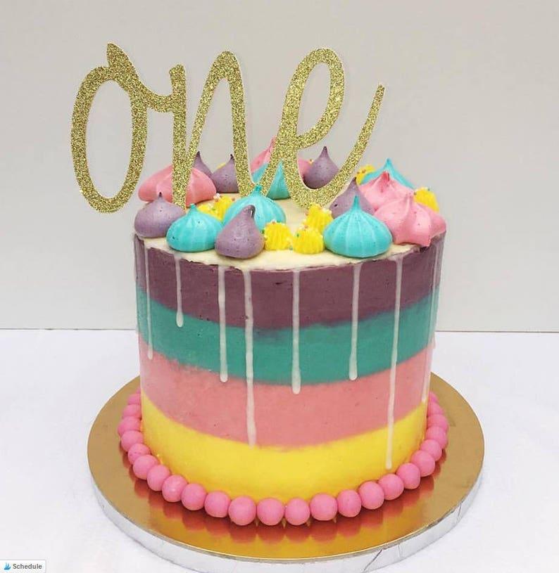 ONE BIRTHDAY First Birthday Cake Topper 1 Year OldWritten