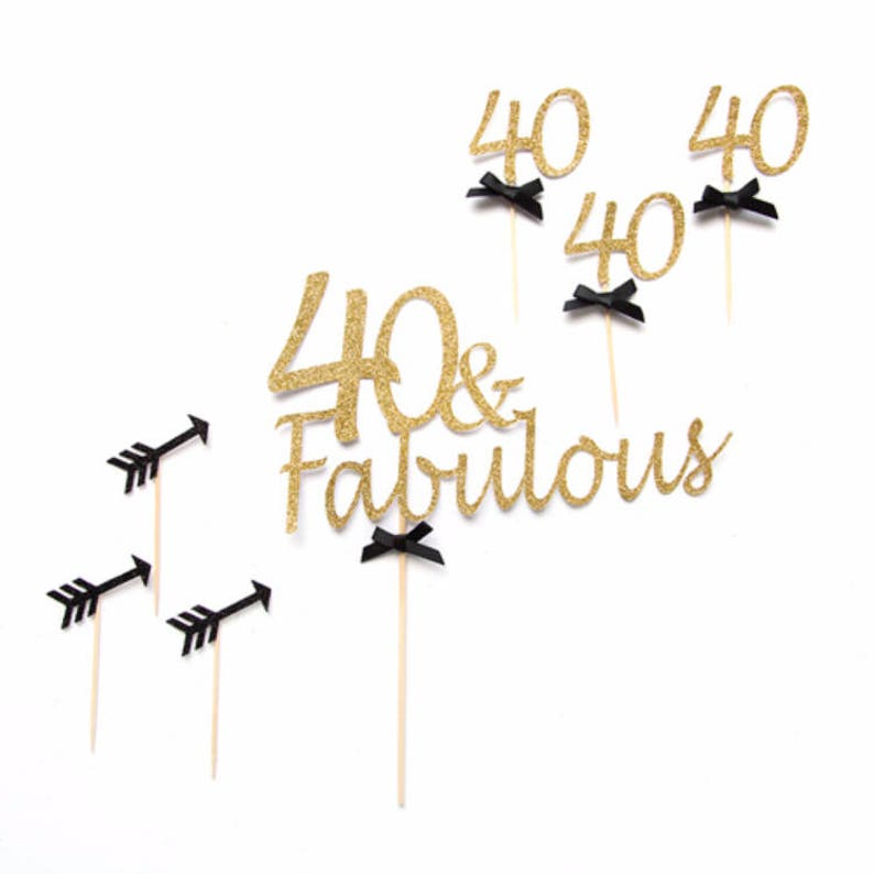 40th Birthday Cake Topper Party Decoration 40 Fabulous Years Old Personalised Age