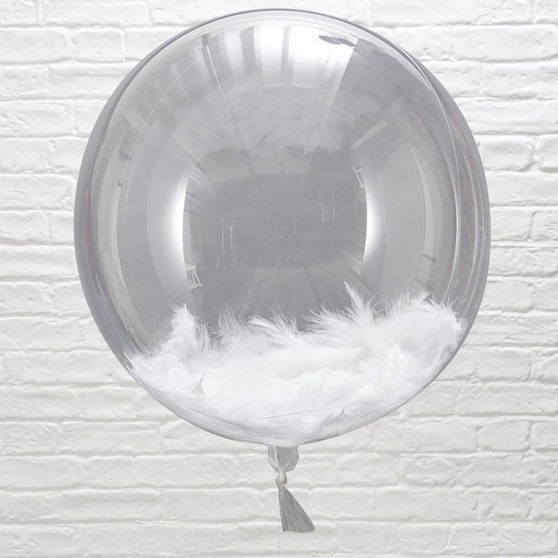 Wedding Balloon Personalised with Own Text  White Feather Filled Orb Party BalloonCustom Text ReceptionGift Birthday Party Decorations