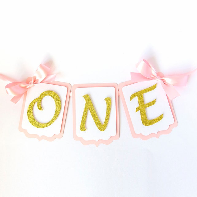 FIRST BIRTHDAY HIGHCHAIR Banner Pink And Gold Cake Smash 1st
