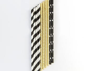 Black and gold straws. Party decorations. 18th birthday party. 50th birthday. 40th. 60th. 30th. 25th.