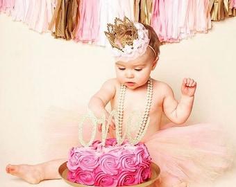 One Birthday Cake Topper//Rose Gold//First Birthday Girl//1st Birthday//Smash Cake Party Decoration//Gold Glitter Topper//Birthday Decor