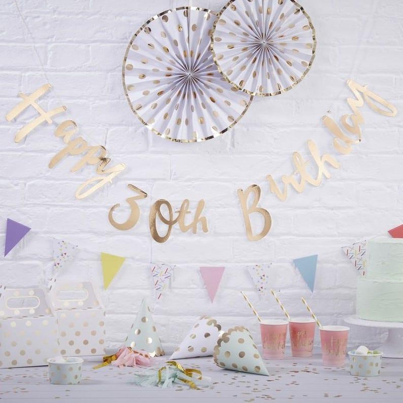 Happy 30th Birthday Banner In Gold Written Pink And Party Decoration Wall Garland Adult