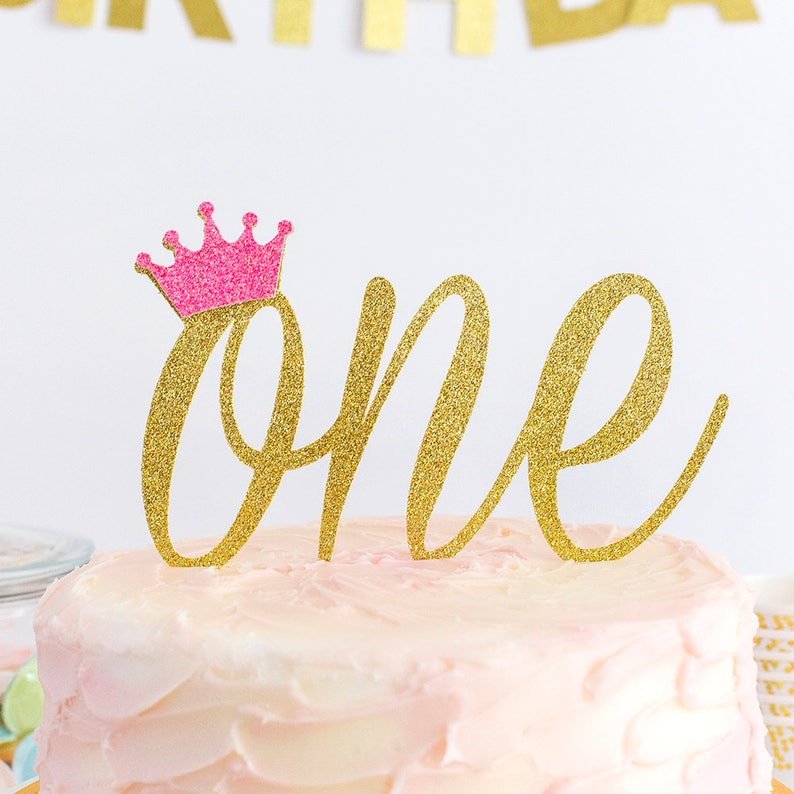 Crown Cake Topper One Year Old First Birthday