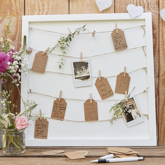 Wedding Peg and String Frame Guestbook / Wedding Guest Book / | Etsy