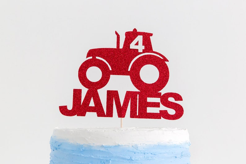 Tractor Cake Topper Birthday Name And Age Boy Party
