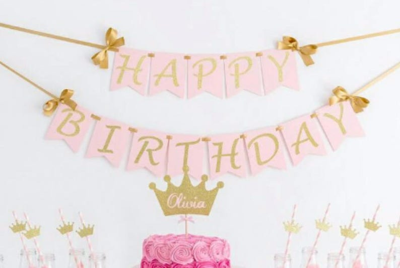 Happy Birthday Wall Banner Girl First Party Decorations Pink And Gold Custom Name