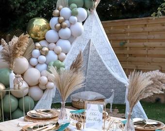Boho Eucalyptus Garland DIY Kit   Chrome Gold and White Sand   Sage Bridal Shower Teepee Green Baby Shower   Wedding Balloon Garland