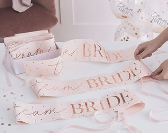 TEAM BRIDE Sashes Pink and Rose Gold. Hen do Party Sashes. Team Bride. Hen Party. Hen do Party.Wedding.Party decorations. Bride to be.PACK 6