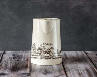 Hold Fast Ceramic Motto Jug. Pottery Kitchen Pitcher. Flower Vase Jug. English Creamware Jug. Kitchenware Gift. Gifts Under 35.
