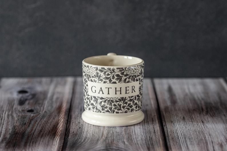 Gather Mug half-pint size creamware made in the UK reunions image 0