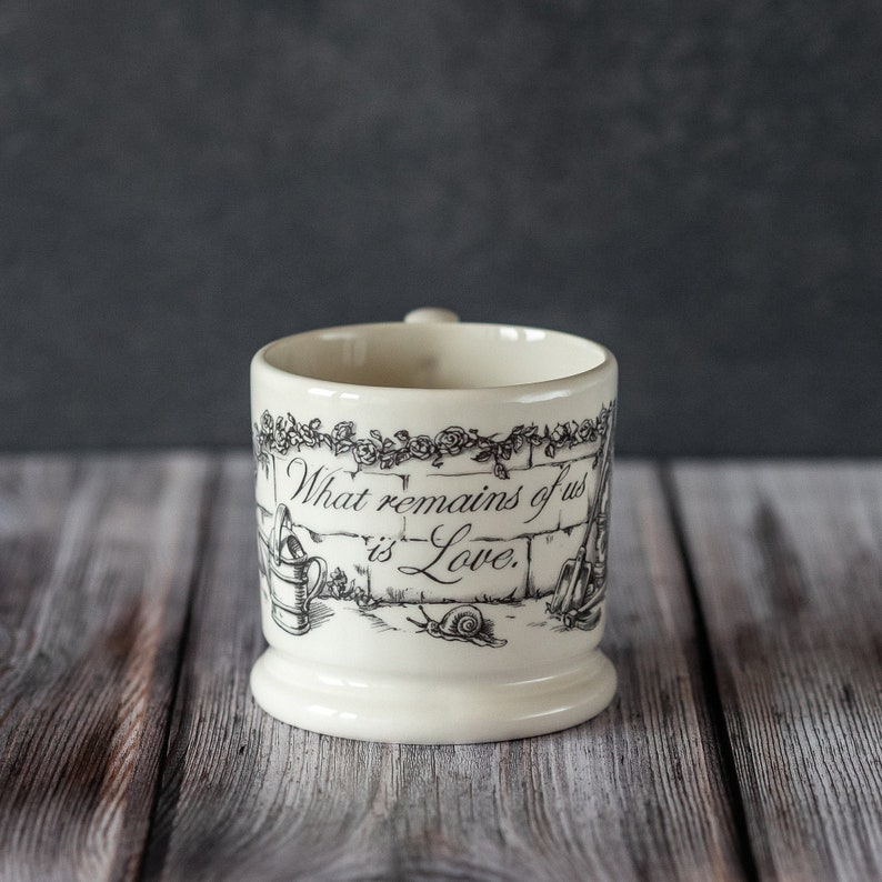 What Remains Of Us Is Love Half Pint Mug. English Creamware image 0