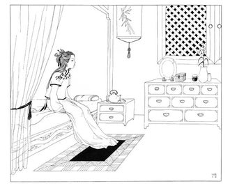 Delicate print chinese girl Din A3