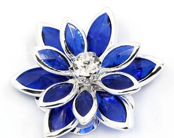 Flowers blue 23mm x 10 pcs rhinestone embellishments