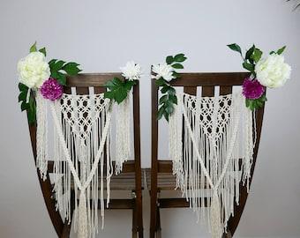 Décoration  en macramé pour chaise -  décoration de mariage