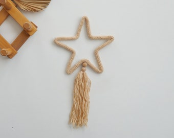 SHOOTIN STAR with tassel - French knitted star - knitted shape -wall hanger - 34 colours - nursery decor - baby gift - babyshower gift