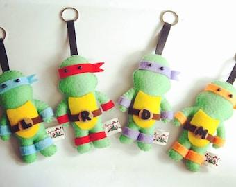 Teenage Mutant Ninja Turtles TMNT felt doll keychains