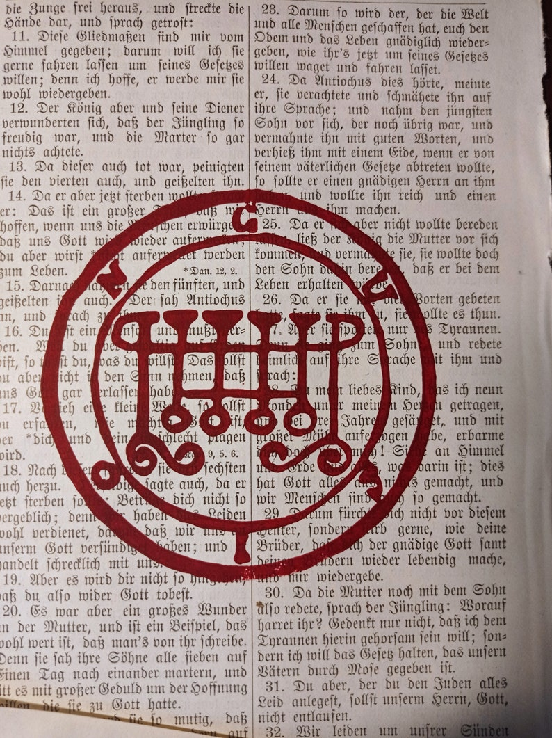 Art Print Occult Symbols Printed in Bloody Red on Old Bible Pages