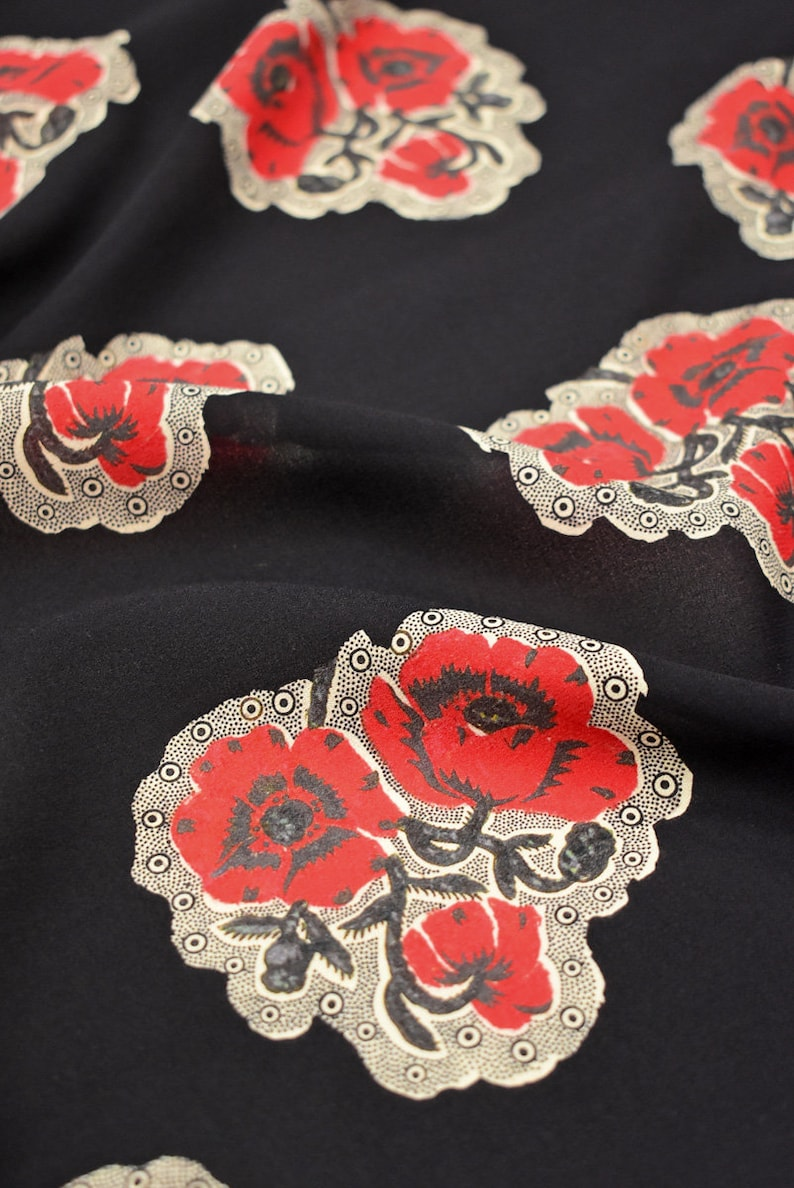 Silk crepe black with red flowers 8393