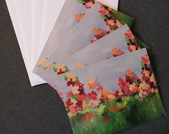 floral greeting cards garden floral greeting cards women's greeting cards colorful note cards by RKMJCreations