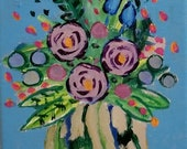 orginal floral painting 5x7 blue flowers Colorful floral wall art by RKMJCreations