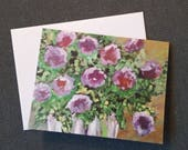 Original greeting card Purple floral greeting card Note cards with flowers Thank you note cards by RKMJCreations