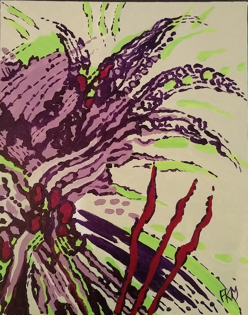 Handmade floral abstract 16x20 Purple botanical painting image 0