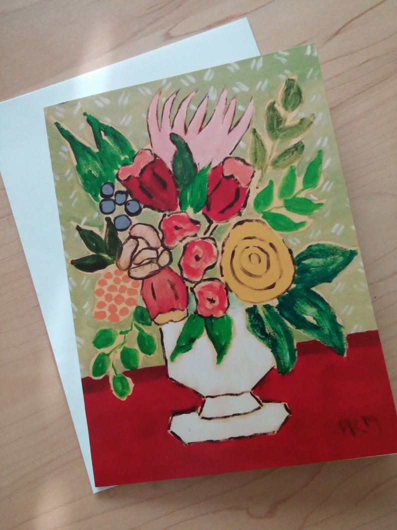 4 Original greeting cards Four 5x7 Floral greeting cards Folk image 0