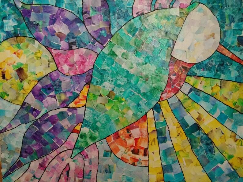 Unique paper wall art hummingbird wall decor Original paper image 0