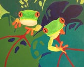 Original frog painting Bold abstract frogs Colorful wall decor Unique frog wall art 16x20 painting Acrylic frog art by RKMJCreations