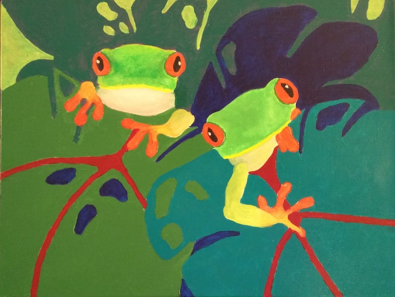 Original frog painting Bold abstract frogs Colorful wall decor image 0