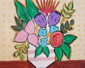 Whimsical floral abstract painitng Colorful floral wall art Bold folk art floral Pink flower Contemporary floral by RKMJCreations