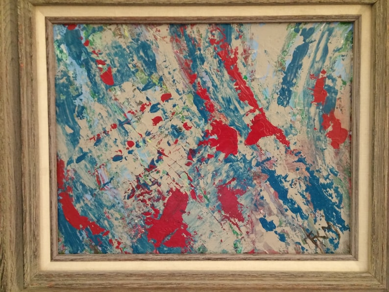 Nature abstract  Framed acrylic abstrct Blue red abstract image 0