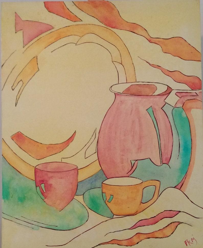 Original tea pot still life painting Red teapot painting image 0