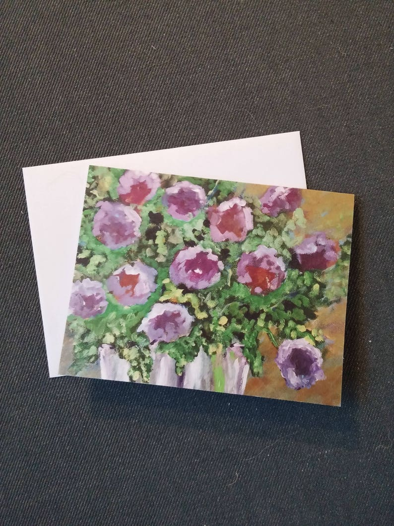 Original greeting card Purple floral greeting card Note cards image 0