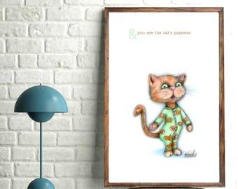 The Cat's Pajamas: print,poster,postcard,greeting card,card,decor,wallart,baby,kid,kind,wall,art,cat,kat,pyama,illustratie,illustration,cute