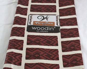 African Upholstery Fabric, Authentic Woodin Brand, Ghana Cotton Print, Abstract Reddish Brown Geometric Print,