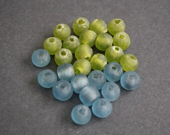 28 African Beads, Ghana Krobo Recycled Glass, 10-12 mm, Mixed Lot Pale Blue and Bright Olive Green, Handmade for Jewelry and Crafts