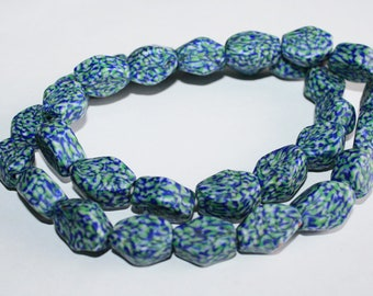 32 African Beads, Ghana Refashioned Glass Handmade Krobo Ethnic Craft, 6-sided,18-22mm, Blue/Green/Grey, 1 Full Strand, for Beading /Crafts